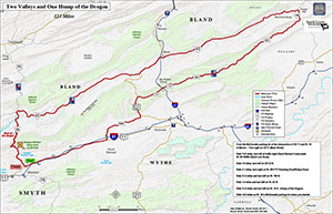 Two Valleys Motorcycle Trail map Smyth Co, VA